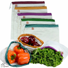 Eco Friendly Washable and Reusable Produce Bags Lightweight Cotton Muslin Canvas bag
