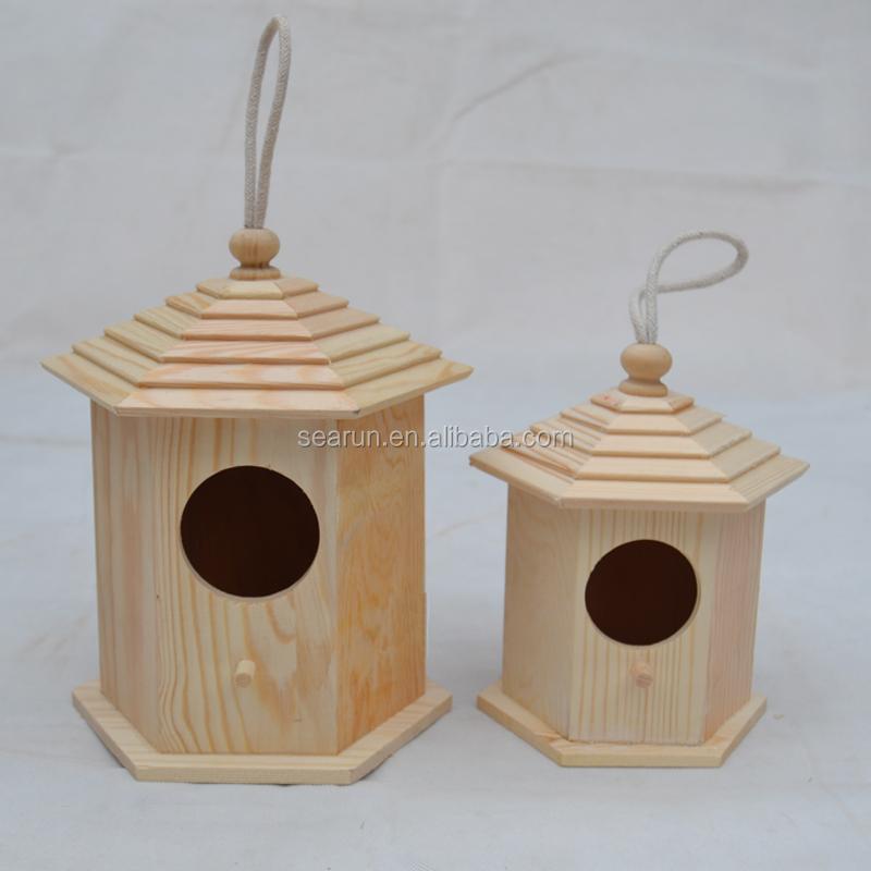 Wooden Bird Cage Wood Bird House Garden Decorative Bird