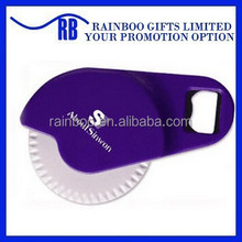 Promotional cheap logo printed plastic disposable pizza cutter with bottle opener