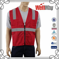 High visibility mesh reflective red safety vest