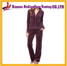 Popular girls' wine color zipper-up jogging sets with hood hoody