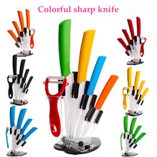 "kitchen knives set 3"" 4"" 5"" 6"" inch Peeler Acrylic Holder block kitchen ceramic knife folding fruit paring knives"