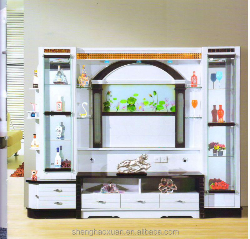 Modern design living room furniture lcd tv wall units wall for Simple lcd wall unit designs