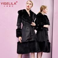 Yigelila 9364 black big fox fur collar hem cuff long leather coat women made in China