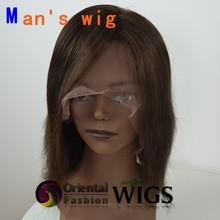 Custom 8 inch 6# 120% density Men's wig Chinese virgin human hair full lace wigs