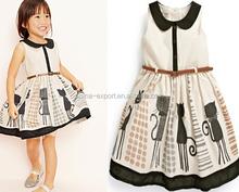 SKQ-052 2015 wholesale fashion summer hot sale new european Doll Collar belt cat printed girls free prom dress