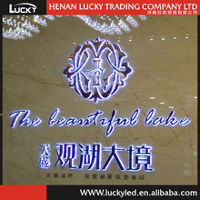 Indoor Big Size Backlit Sign, Decorative Stainless Steel Metal Face With Crystal LED Reverse Illuminated Channel Letter Sign