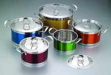 SZB-1002 10 Pcs Stainless Steel Enamel Cookware Set with S.S. Cover