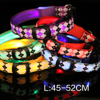 Factory direct flash lamp LED anti lost dog collar dog ring figure LED pet collar with lamp light L