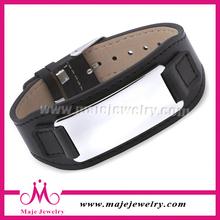 New health product silver steel wide black mens leather bracelet