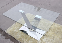 Rectangular stainless steel glass dining tables