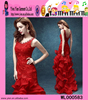 2015 Europe Style Lace Tail Big Size Party Dress Charming Backless Sexy Ladies Long Red Evening Dress