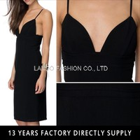 2015 New Fashion Black Crepe Fabric Open Back Sexy Girls Without Dress