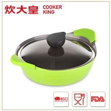 2015 factory price 26cm die cast aluminium ceramic casserole dish, saute pan,low pot