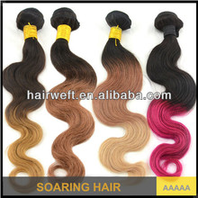 Black and red, lack and blue, black and blonde 2 tone ombre remy hair weaving