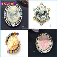 Factory wholesale retro magnetic brooch cameo brooch