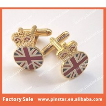 Top Level High Quality Royal Crown and Union Jack Round Cufflinks