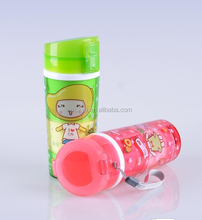 Plastic double layer water cup 380ml for kids , inner:food grade PP, outside: AS,lid: PP