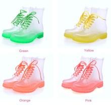 A416 Children Transparent Half Boots Beautiful Rainshoes Candy Color Rain Boots