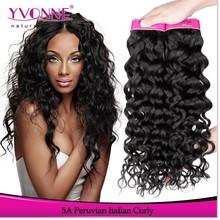 Natrual color Italian curl top grade brazilian remy hair weave