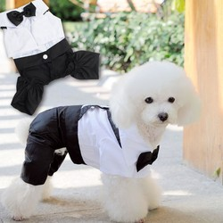 Trade Assurance Puppy Small Pet Dog Clothes Western Style Men's Suit with Black Bow Tie