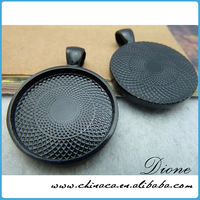 Circle Pendant Trays - Black Color - 1 Inch - 25mm - Pendant Blanks Cameo Bezel Settings Photo Jewelry