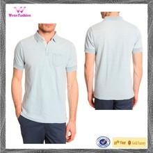 100 algodão bolso no peito azul jersey camisas pólo