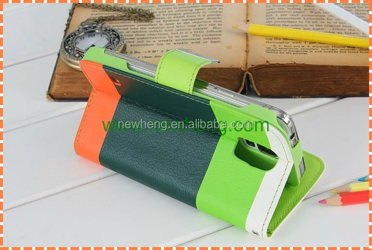 contrast color leather case for samsung s5, for galaxy s5 leather case