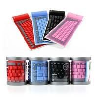 2014 Hot Flexible Folding 85 Key Waterproof Wireless Bluetooth Silicone Soft Keyboard