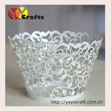 White Laser cutting ivy vine cupcake wrappers flower branch cupcake wrapper for whole sale and retail