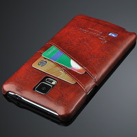 Luxury Grease Glazed Leather Phone Case For Samsung Galaxy Note 4 N9100 IV Card Slots Wallet Back Cover Bag Note4