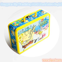 Lunch tin box with lock and plastic handle