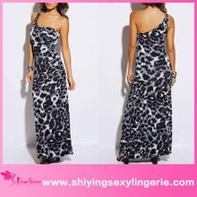 venta al por mayor de lujo abstracto deimpresión de los animales uno hawaiano de hombro vestido de maxi