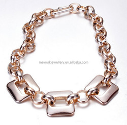 Metal plaque rose gold women artificial gold long chain imitation necklace