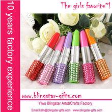hot selling fashion diamond crystal lipstick promotional pen