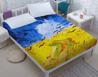 DIY Bed sheet,Bed sheet set,3d bed sheet,Van Gogh painting sheets,Latest bed sheet designs,New bed sheet design CD39