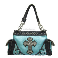 Lady Bling Rhinestone Western Hair Handbag With Cross