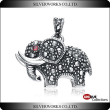 Antique Engraving 3D elephant with gemstone necklace pendant 925 sterling silver charms