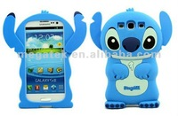 Phone case phone accessories for samsung Stitch movable ear flip rubber 3D silicone case for galaxy s3 i9300