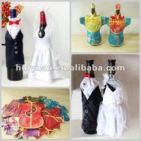 Satin wedding wine bottle cover bag