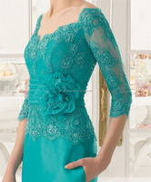 Sexy V-Neck Lace Appliques Beading 3/4 Sleeve Chiffon free patterns evening dresses FXL-771