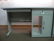 Durable design steel office desk with wooden top