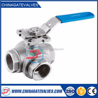 ISO9001:2008 & CE Cangzhou factory stainless steel cf8m 3 way ball valve manufacturer