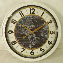 round antique white iron wall clock with map