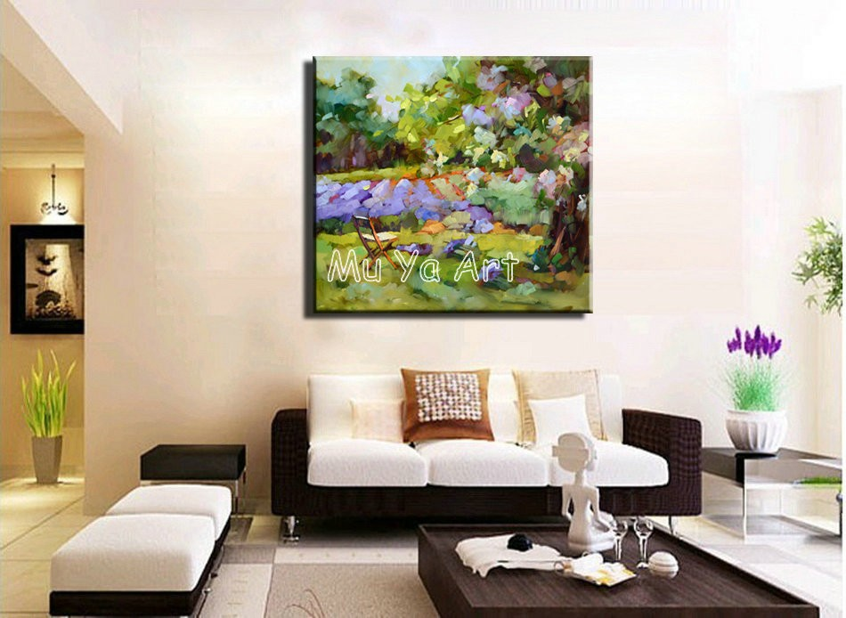 Buy Abstract modern canvas wall art handpainted purple  picture Knife oil painting on canvas for living room wall home decoration cheap