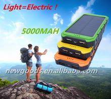 2015 powerful Solar Panels 10000mAh Portable Backup Solar Charger Dual USB Power Bank for phone