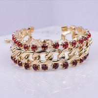 2015 New Free Shipping 18K Gold Plated Women Bangle Rhinestone Round Classic Bracelet Whole Sale (BL140007)