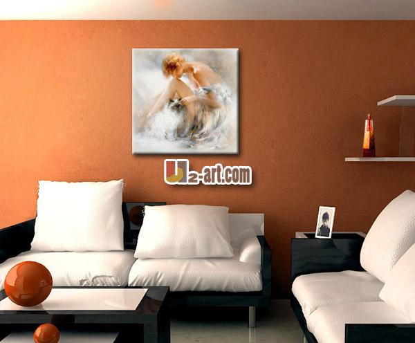 Canvas schilderij kunst mooi meisje olieverfschilderij voor slaapkamer wanddecoratie schilderen - Trend schilderij slaapkamer ...