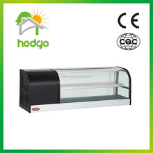 OEM refrigeration equipment 1.2m 1.5m 1.8m 2m glass double layer counter top cooler display for Sushi Export to Switzerland