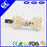 wholesale fashion butterfly hair clips from jewelry factory made of pearl with crystal hair accessorise